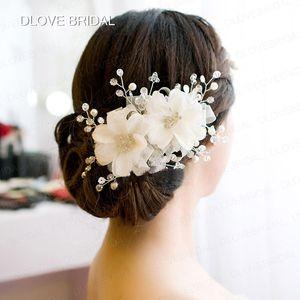 New White Red Cabelo De Noiva Flores Venda Quente de Alta Qualidade de Cristal Flexível de Cabelo Acessório de Noiva Floral Nupcial Headdress Headpieces
