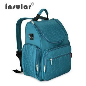 Venta al por mayor Insular Multifuncional Moda Pañal Mochila Mamá Bolso Impermeable Cambiando Bag Nappy Mochila