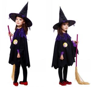 Costumes d'Halloween Enfants Enfants Bébé Fille Sorcière Cosplay Costume Performance Vêtements Cape + Chapeau Neige Blanc Robe De Fête D'enfant
