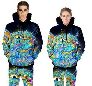 Erkek / kadın Renkli Kedi Hoodie + Pantolon İlkbahar / Sonbahar 3D Dijital Baskı Hayvan Kazak Joggers Kapşonlu Eşofman Sweatpant Set