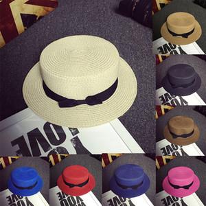 Lady Classic Boater Sun Caps cinta plana plana elegante paja Panamá Summer Beach Hat A456