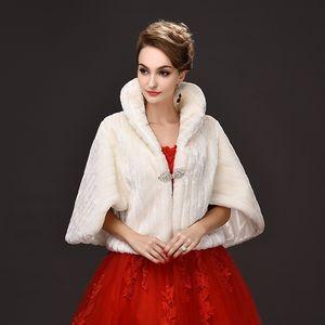 Abrigo de piel blanco Boda Stole Shawl Shrug nupcial Baile Bolero Cape Ladies Party de noche Faux Fur Wedding Wraps Moda Vintage