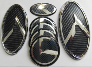 Бесплатная доставка 1SET 7pcs New 3D черного углерода K логотип знак эмблема подходит KIA OPTIMA K5 2011-2018 / автомобиль эмблемы / 3D наклейки