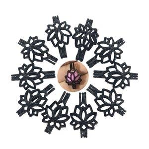Fascini 10pcs / lot di loto di colore del fiore della perla del nero del pendente gabbia per perline, pietre Locket monili che fanno fai da te collane