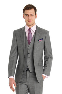 2017 Custom Made Mens Light Grey Suits Formal Dress Men Suit Set hombres trajes de boda del novio trajes de etiqueta (Jacket + Pants + Vest + Tie)