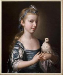 Çerçeveli bir kuş ile Küçük kız, Saf El Boyalı Portre Sanat Yağlıboya Tuval Üzerine. Çok Boyutları Mevcut yx-pa