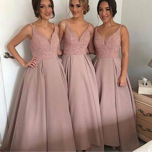 2019 실제 사진 핑크 신부 들러리 드레스 V 목에 구슬 라인 긴 새틴 겸손 하녀 명예 복장 파티 파티 파티 가운 저렴한 사용자 정의