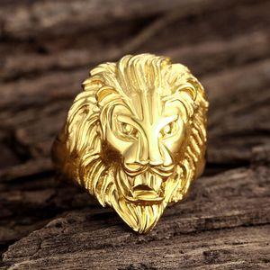 Fashion Men's Gold Steel de acero inoxidable Anillo de los hombres Exagrado Dominio de la moda Lion Head Ring Vintage Gothic Punk Rock Anillo Joya de los hombres