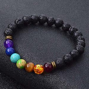 New Natural Black Lava Stone Bracelets 7 Reiki Chakra Healing Balance Beads Bracelet for Men Women Stretch Yoga Jewelry