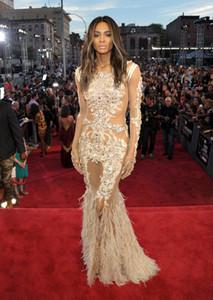 2018 See Through Dress Crew Mermaid Lace Tulle Abiti da sera Maniche lunghe Appliques Piume Strascico treno Celebrity Dress Sheer Neck Gown