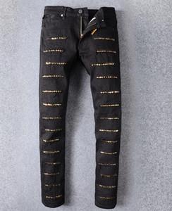Мужские джинсы Дырки Новый горный хрусталь украшения джинсов ручной пасты кристаллические золотые крылья черные джинсы Мужская мода молния Denim брюки