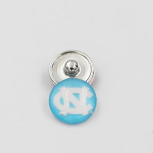 Última NCAA Carolina del Norte Ginger Snap Button 18mm joyería encantos de cristal Colegiado del equipo Deporte Snap Snap apta DIY pulsera del collar