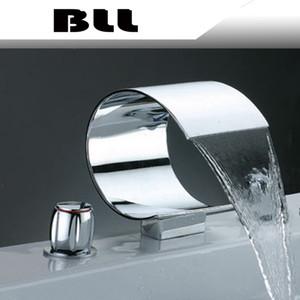 02736B Bad Wasserfall Waschbecken Messing Wasserhahn Luxus Badewanne und Dusche Mixer mit Handbrause 5 Pcs