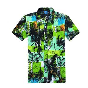 Wholesale- Short Seeve Shirt Mens Camisa Social Floral Print Hawaiian Shirt Men  Designer Clothes High Quality Chemise Homme