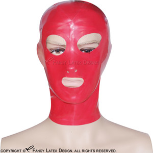 Red Sexy Latex Hood With Zipper At Back Open Eyes Mouth Nose Rubber Mask Plus Size TT-0005
