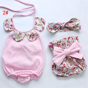 3 Styles INS Baby Flower Rompers+Hair band+PP pants Girl Cotton Print sleeveless romper with Bow Girls Ruffled Jumpsuit Free Shipping
