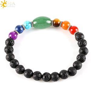CSJA grande taille aventurine vert créé guérison 7 pierres précieuses chakra chakra noir bracelet de brins de lave pour homme cadeau femme bijoux E279