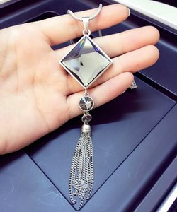 2COLOR Fashion Allure water drops love chain necklace jewelry Crystals from Swarovski female clothes hanging chain jewelry