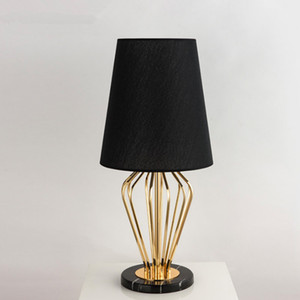 Modern Table Lamp Mable Base Table Lights Desk Night Light E27 Holder Fabric Lampshade Luxury Bedside Lamp for Home Bedroom Decor