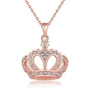 Кулон с бриллиантовой короной Ожерелья из розового золота с серебряным сплавом Подвеска с цепочкой 18 дюймов