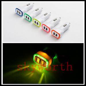 Nueva llegada 2.1A + 1A Dual 2 USB puerto LED Car Charger Adapter para Universal Smart Phone Tablet