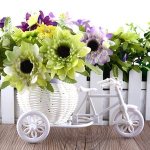 Wholesale-2016 Hot Sale New Plastic White Tricycle Bike Design Flower Basket Container For Flower Plant Home Weddding Decoration