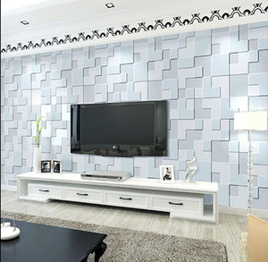 High quality 3D Mosaic Lattice Wall paper Europe Modern Embossed Flocking Non-Woven Living room TV Background Wallpaper