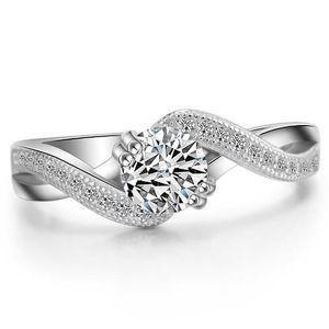 Gioielli ZHF Gioielli da 0,6 ct Princess Cut Fancy creati a diamante solido in argento sterling 925