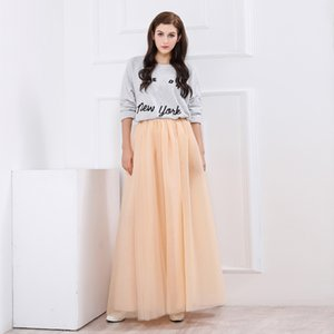 Faldas 100% reales a medida baratas Una línea de tul palabra de longitud vestidos de fiesta Falda plisada larga marfil con cinturón