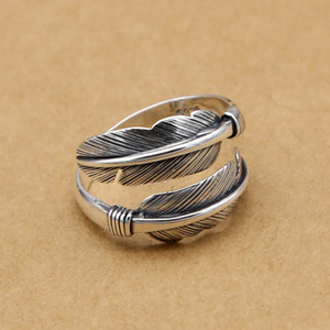 925 sterling silver fashion jewelry band ring feather shape open adjustable ring vintage style for women