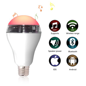 Haut-parleur sans fil Bluetooth E27 RGB 6W Ampoule LED Bluetooth 4.0 APP Lampe d'éclairage intelligente Haut-parleur coloré Dimmable Lumières