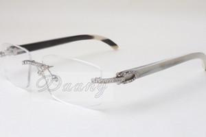 Neuer rahmenlos Quadratmeter Diamant-Rahmen, T8100905 weiße Linsen, natürliche gemischte Hörner, Spiegel Beine, eyeglassessize: 56-18-140mm Rahmen für