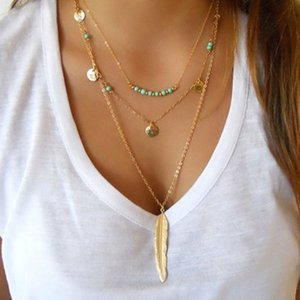 Europe and the United States vintage metal feathers tassel sequins multi - layer women pendant necklaces jewelry accessories
