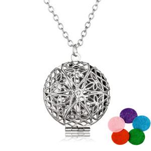 Premium Aromatherapy Aceite Esencial Difusor Collar Medallón Colgante Antique Silver perfume locket 60cm Cadenas de Joyería Con 5 Almohadillas