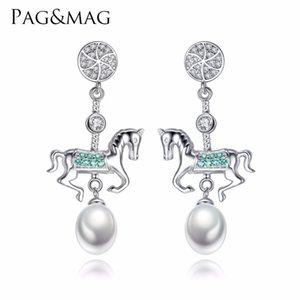 Pagmag 925 Sterling Silver Fashion Creative Color Carousel Goccia Orecchini per la ragazza Orecchini a sospensione naturale perla orecchini Gioielli donna