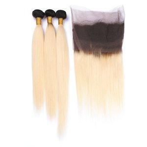 Two Tone 1B / 613 Blonde Ombre Malese capelli lisci umani con 360 Full Lace Frontal Pre pizzicato 360 chiusura con banda di pizzo con 3Bundles