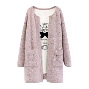 Wholesale- New Sweet Solid Color Winter Women Long Sleeve Knitted Sweater Cardigan Collarless Knitted Overcoat