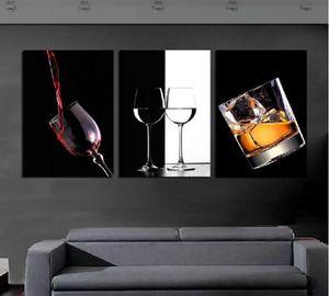 3 P Sıcak Satmak Modern Duvar Ev Dekoratif Resim Resim Kanvas Baskılar Işıltılı ve saydam cam ve lezzetli şarap
