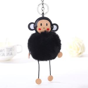 Çanta Kadın Takı Düğün Hediye On Sevimli Kızlar Yeni Pom Kabarık Tavşan Kürk Topu Anahtarlık Kadınlar Peluş Pompon Maymun Anahtarlık