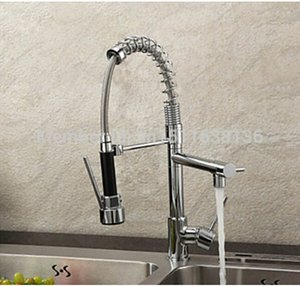 Wholesale- Free Shipping Promotion Sprayer Kitchen Mixer Faucet Double Spout Deck Mount Kitchen Faucet Tap Chrome Finish