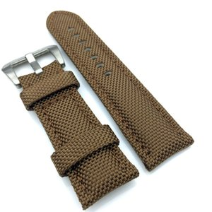 26*22 Brown 125 80 Watchband Leather Strap Watch Buckle Canvas Tang For PAM Mm Fit Mm Hfian