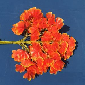 Artificial Ginkgo Biloba Leaf 12 unids conjunto unos 60 cm de largo Artificial Tree Silk Branch Stem Wedding Garden Decoration WQ21