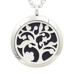 Perfume Aroma Diffuser Locket Necklace Tree of Life Pendant 316L Stainless Steel Magnetic Perfume Locket With Felt Pads