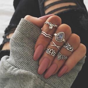 7 шт. / Установить новое прибытие цветок драгоценного камня резное кольцо набор антикварных серебристых старинных богемных турецких модных женщин аксессуары