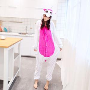Yetişkin Kadın Erkek S-XL için Unicorn Unisex Fanila Pijama Hoodie Cosplay Hayvan Onesies pijamalar