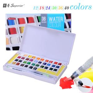 Superiore 12/18/24/30/36/40 colori Colori ad acquerelli solidi Mezze padelle Set di pigmenti per artista Drawing Art Supplies penna pennello