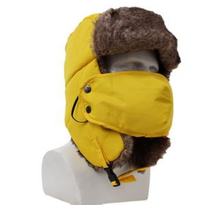 Зима теплая траппер шляпа уха закрылки бомбардировщик искусственного меха шапки унисекс доказательство Траппер шапки снег шапка Русский шляпа 77