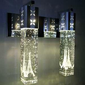 Bolha De Cristal LED Lâmpada de Parede Cilindro De Cristal Forma Coluna Sala de estar Lâmpada de Parede Espelho Luz RGB Quente Branco Lustre Luz