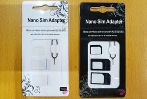 4 في 1 مجموعات نانو مايكرو SIM محول إخراج دبوس لابل اي فون 4 5 6 بطاقة SIM سامسونج مع حزمة البيع بالتجزئة