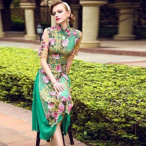 Chinese wind cheongsam 2017 new embroidery dress in the long section of modified cheongsam aodai summer Vietnam Female Costume